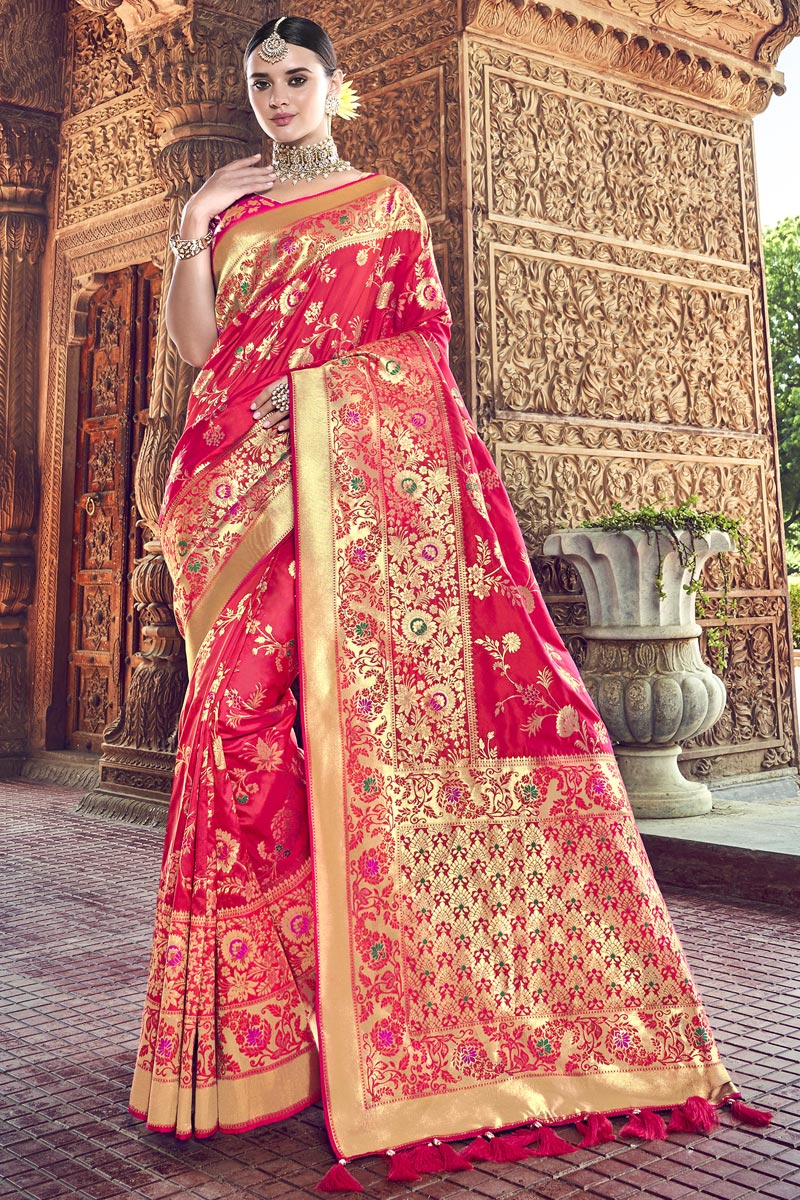 Red Traditional Wear Silk Designer Weaving Work Saree With Heavy Blouse