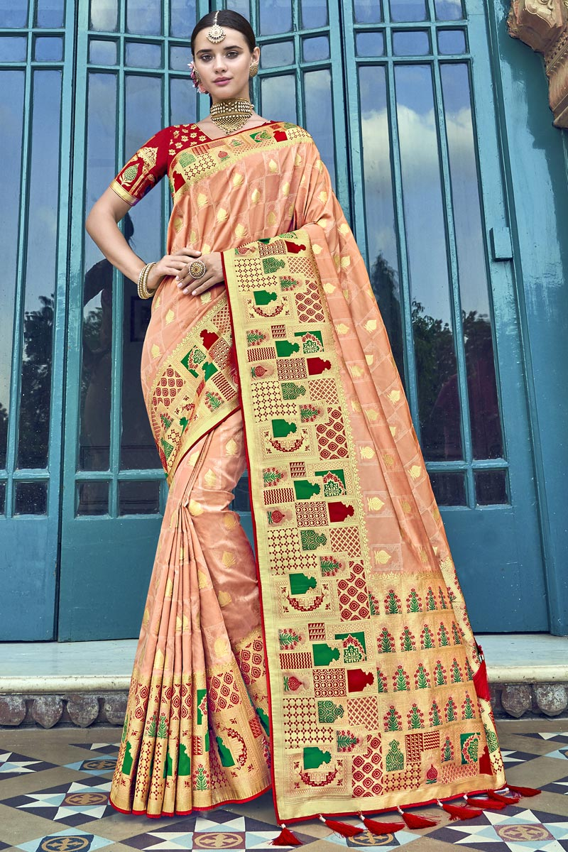 Traditional Wear Peach Silk Designer Weaving Work Saree With Heavy Blouse