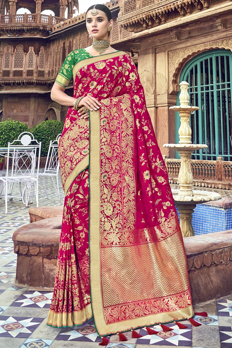 Rani Color Silk Traditional Wear Designer Weaving Work Saree With Heavy Blouse