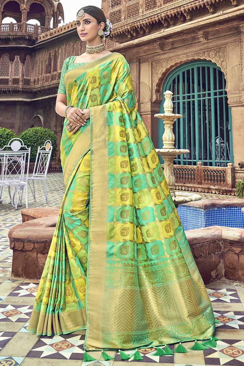 Traditional Wear Silk Designer Weaving Work Saree With Heavy Blouse In Sea Green