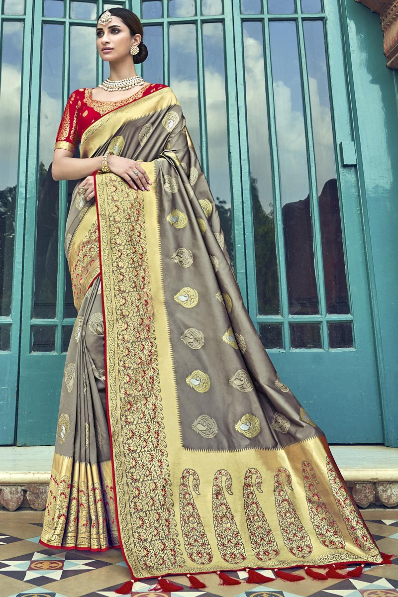 Silk Traditional Wear Designer Weaving Work Grey Saree With Heavy Blouse