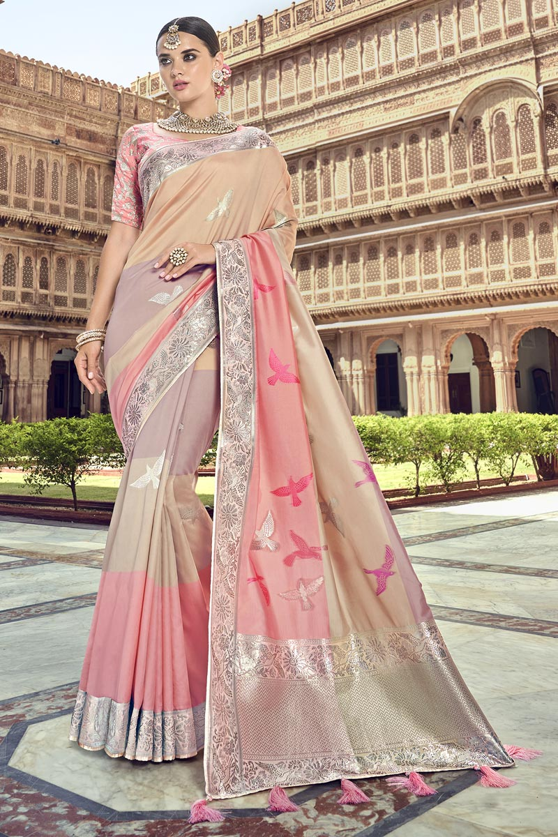 Traditional Wear Silk Designer Chikoo Color Weaving Work Saree With Heavy Blouse