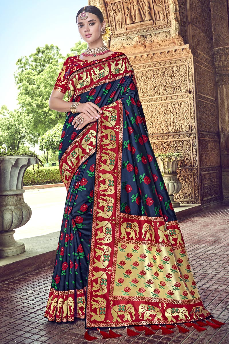 Silk Traditional Wear Navy Blue Designer Weaving Work Saree With Heavy Blouse
