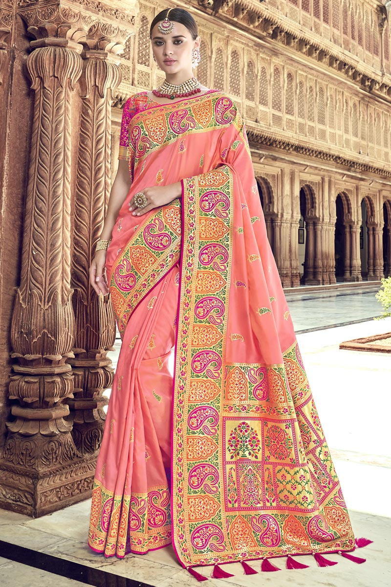 Traditional Wear Silk Pink Designer Weaving Work Saree With Heavy Blouse