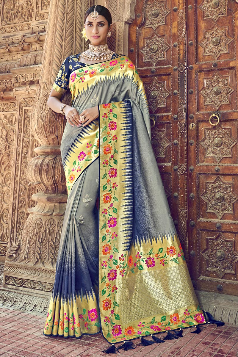 Silk Grey Traditional Wear Designer Weaving Work Saree With Heavy Blouse