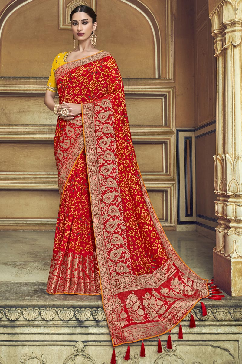 Red Silk Fabric Traditional Wear Designer Weaving Work Saree With Fancy Blouse