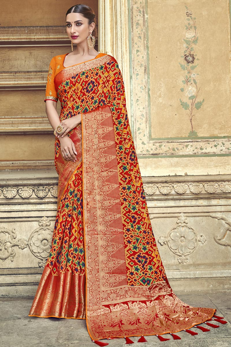 Silk Fabric Traditional Wear Designer Weaving Work Orange Saree With Fancy Blouse