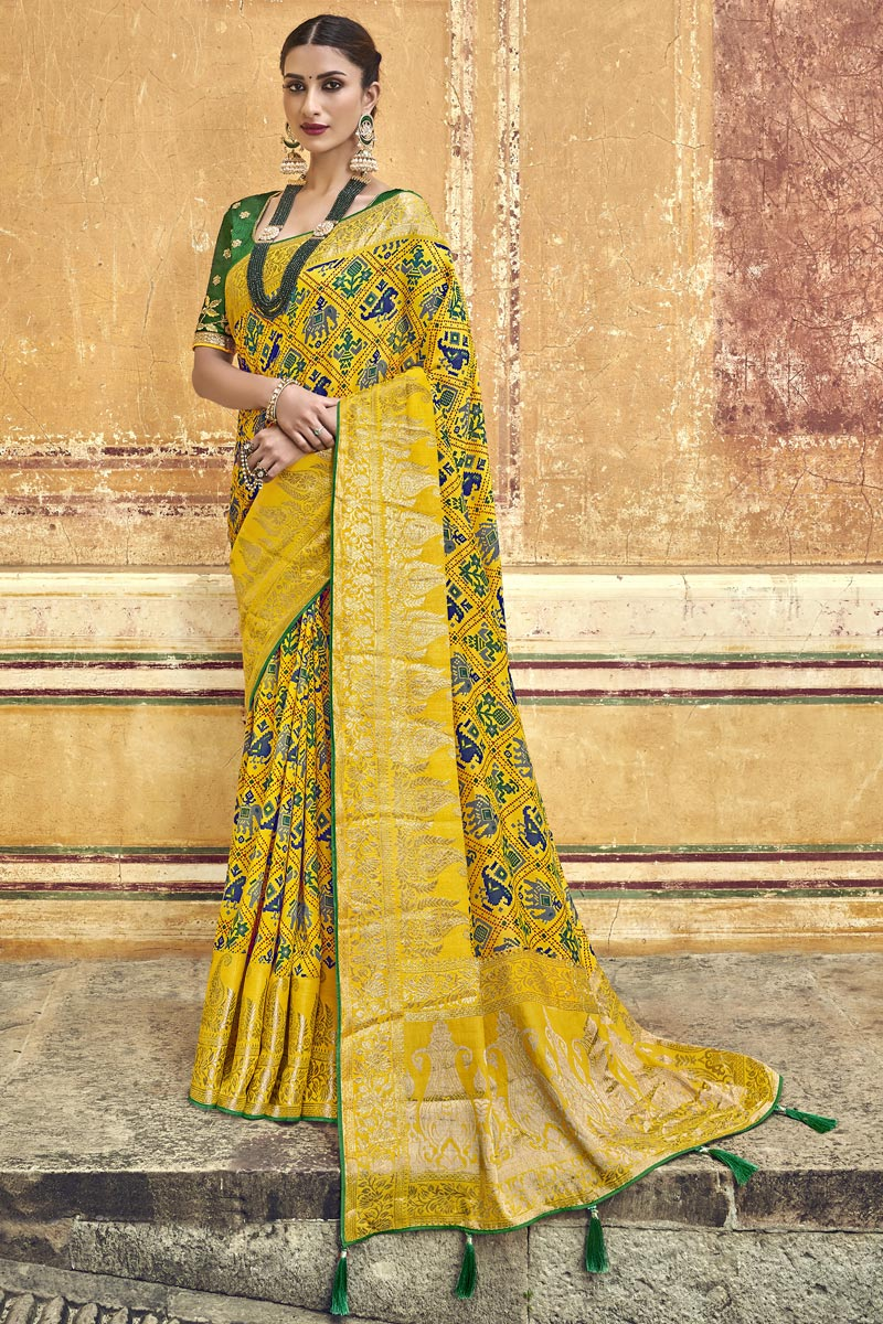Traditional Wear Silk Fabric Designer Yellow Weaving Work Saree With Fancy Blouse