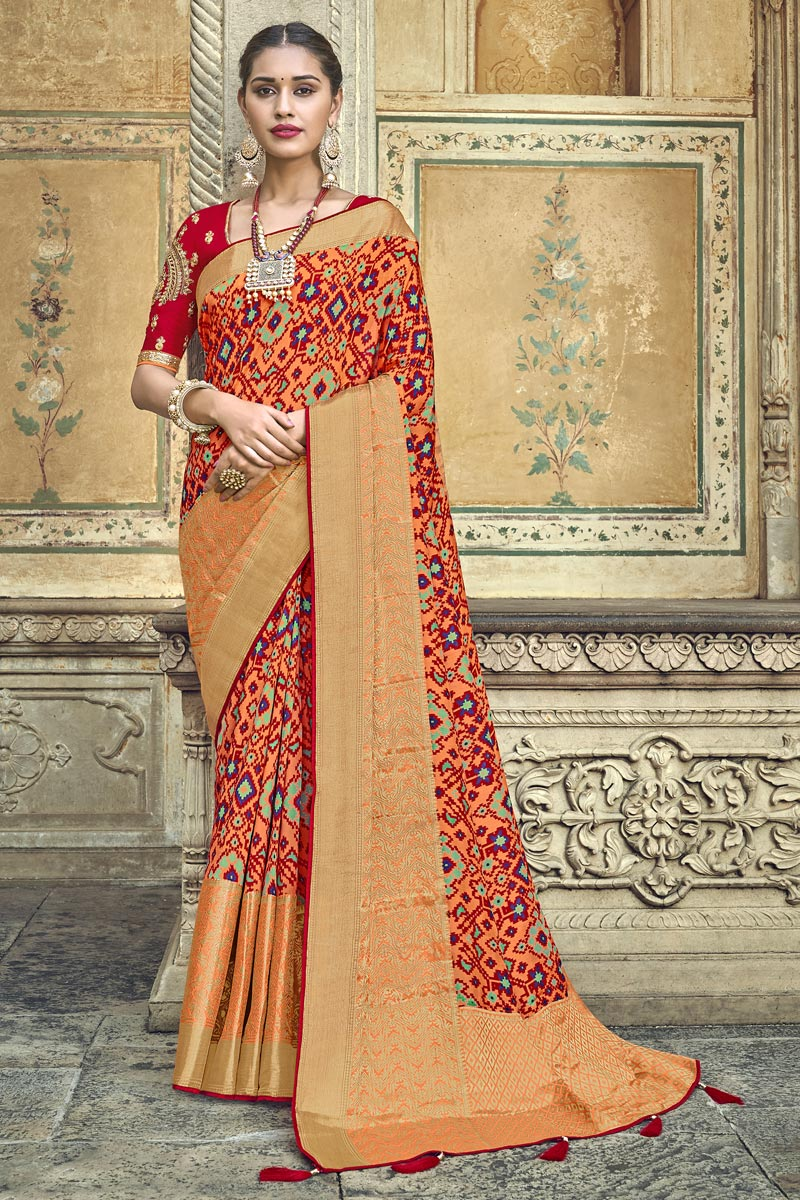 Silk Fabric Traditional Wear Peach Designer Weaving Work Saree With Fancy Blouse