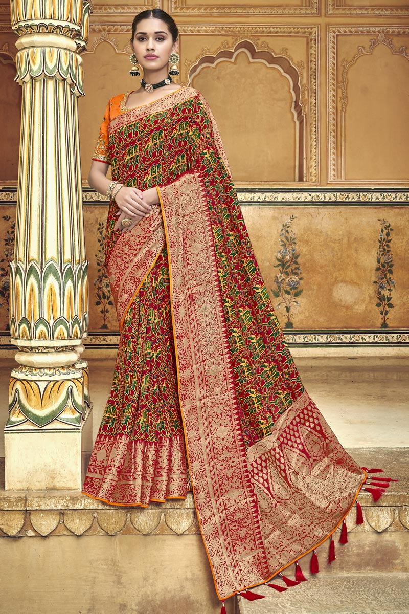 Silk Fabric Maroon Traditional Wear Designer Weaving Work Saree With Fancy Blouse
