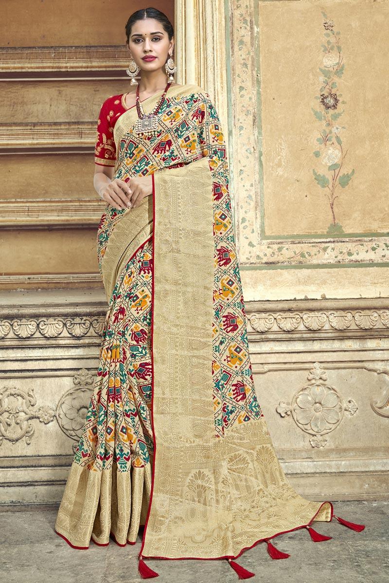Beige Traditional Wear Designer Weaving Work Silk Fabric Saree With Fancy Blouse