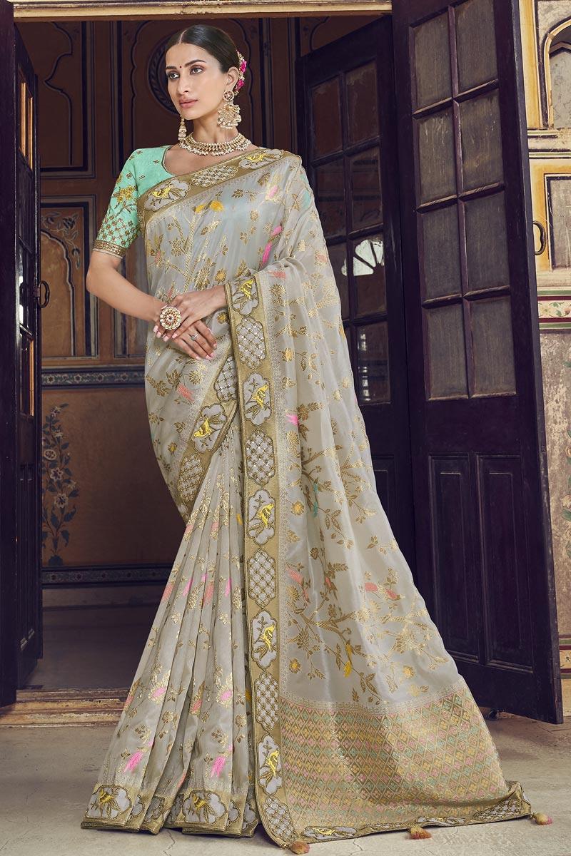 Function Wear Art Silk Grey Weaving Work Saree With Heavy Blouse