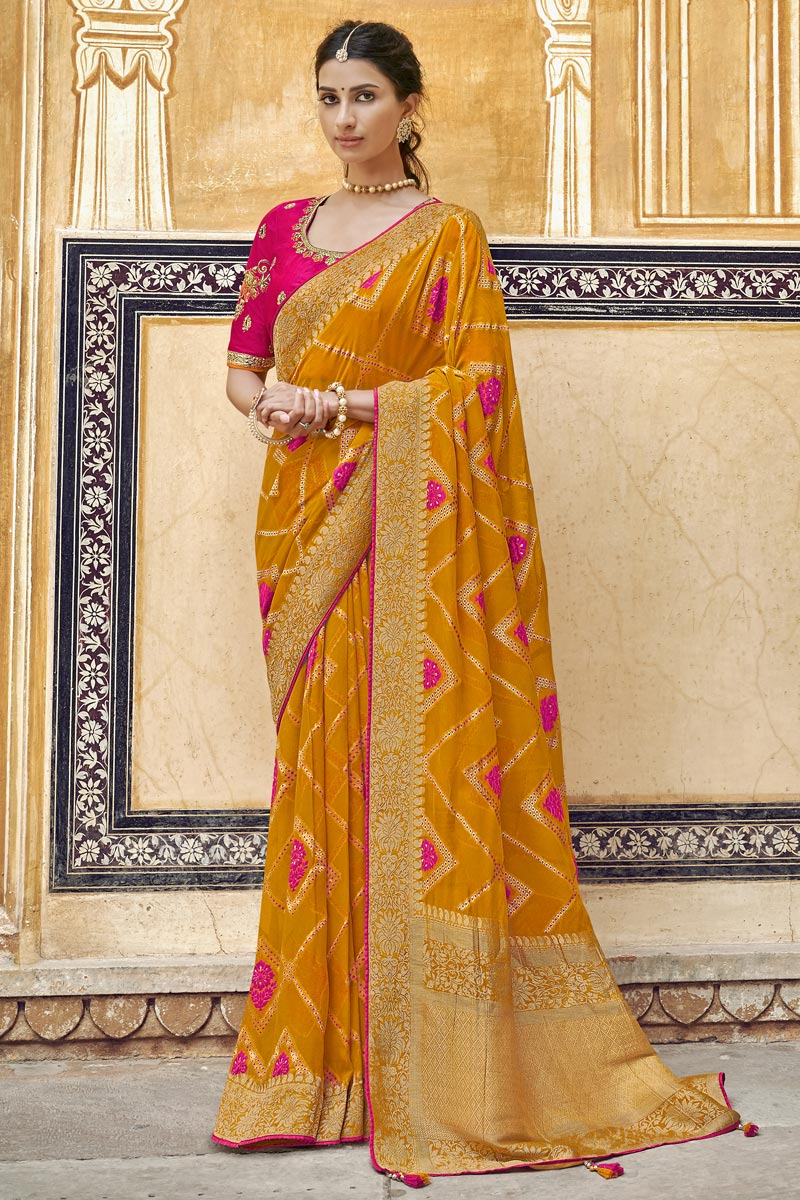 Eid Special Trendy Orange Art Silk Function Wear Weaving Work Saree With Embroidered Blouse