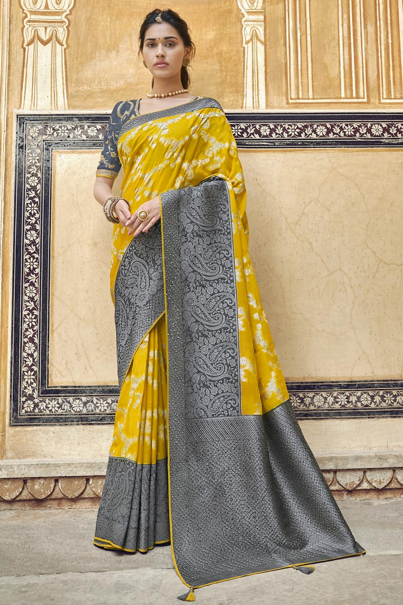 Yellow Fancy Art Silk Function Wear Weaving Work Saree With Embroidered Blouse