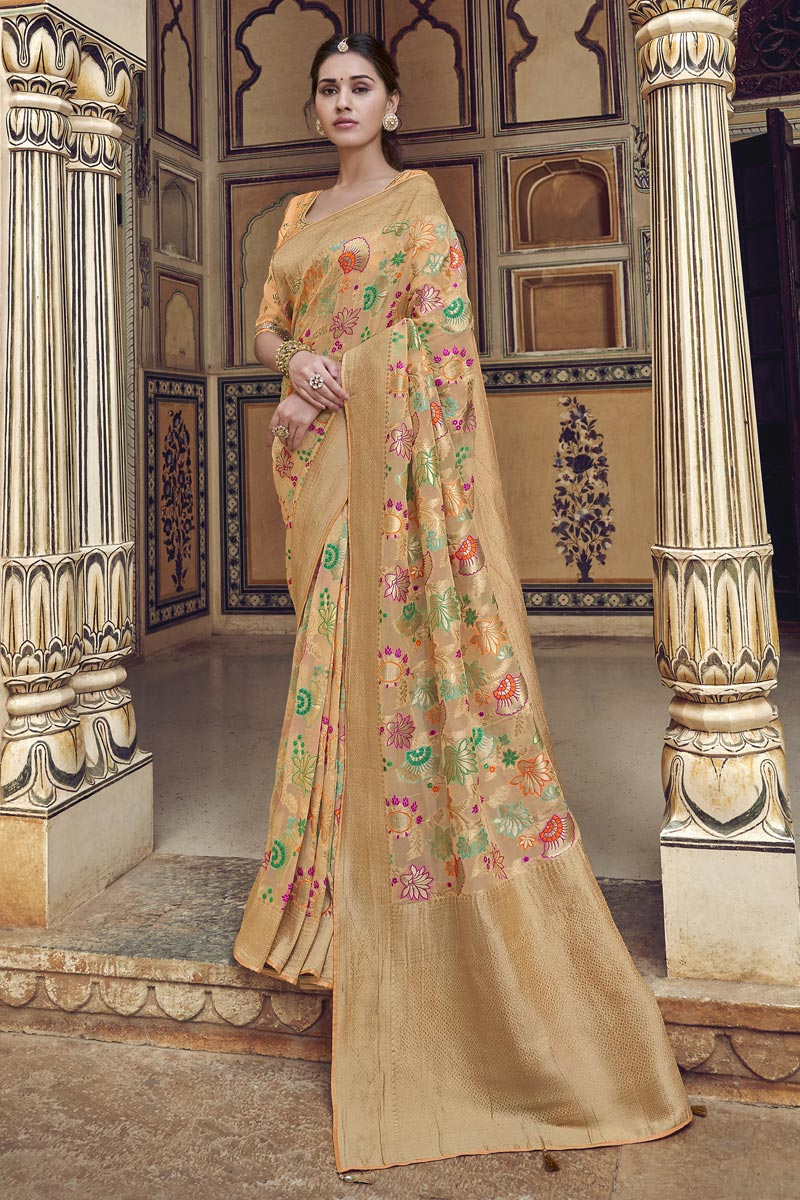 Trendy Function Wear Beige Art Silk Weaving Work Saree With Embroidered Blouse