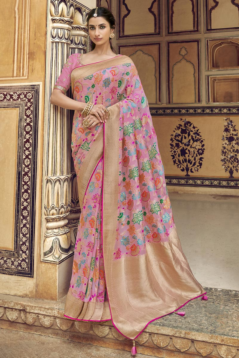 Pink Function Wear Fancy Art Silk Weaving Work Saree With Embroidered Blouse