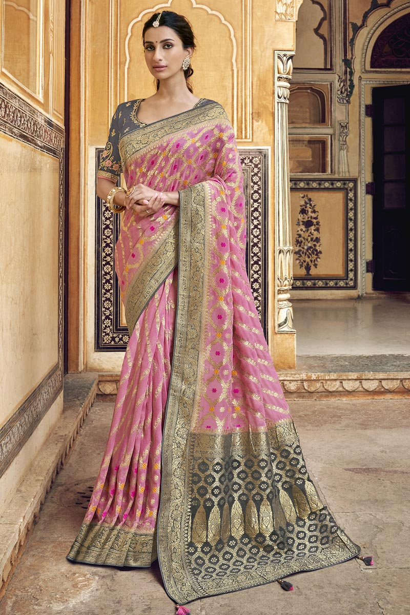 Trendy Art Silk Pink Function Wear Weaving Work Saree With Embroidered Blouse