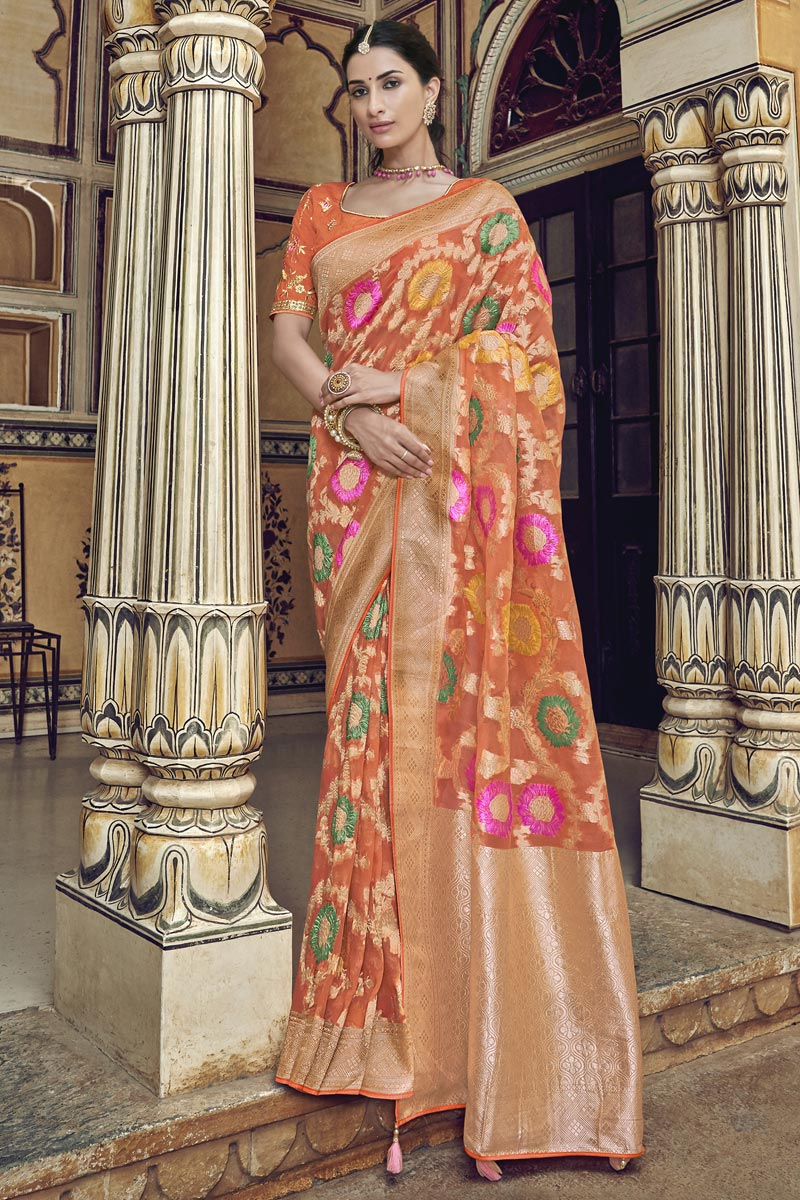 Fancy Orange Function Wear Art Silk Weaving Work Saree With Embroidered Blouse
