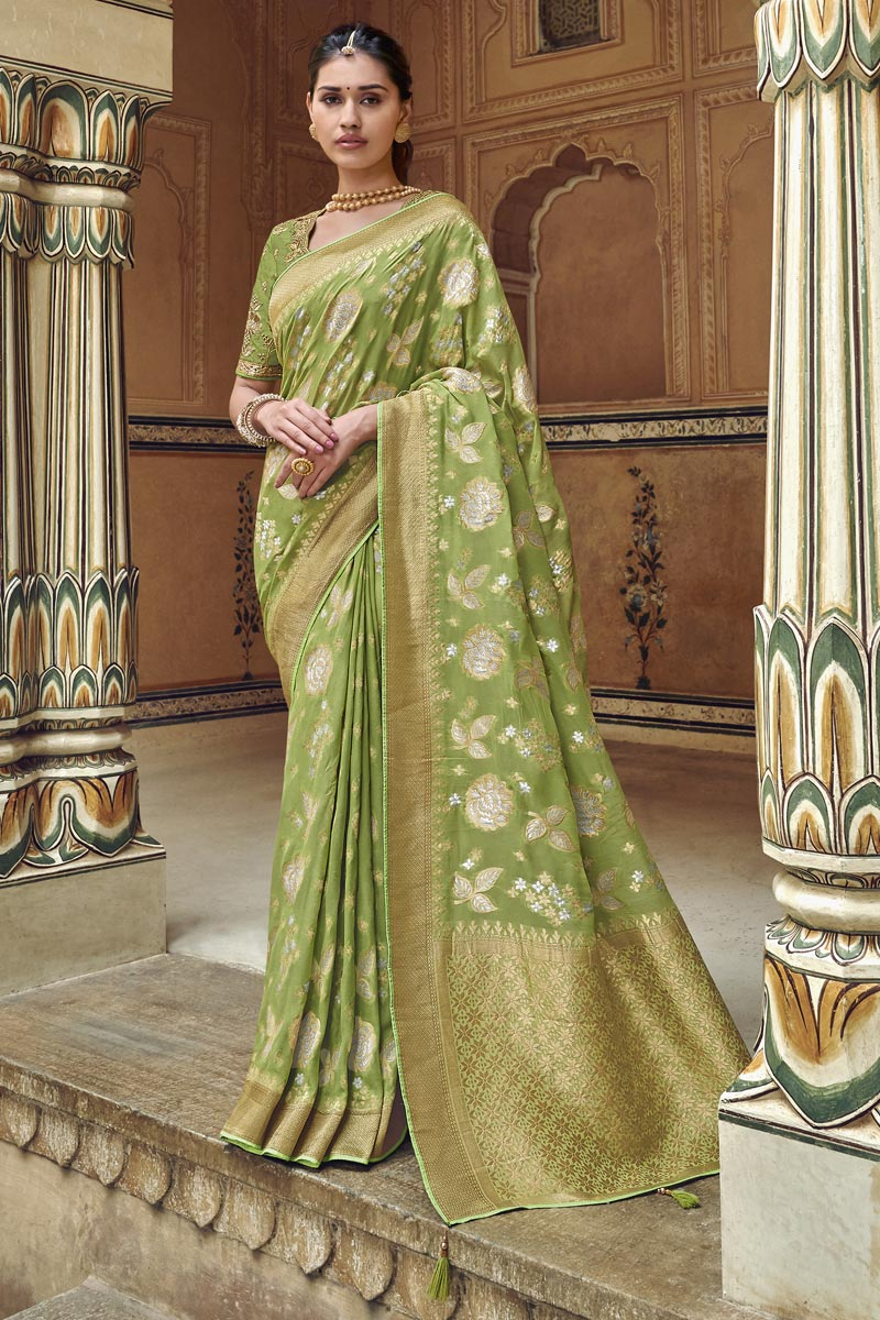 Eid Special Trendy Art Silk Green Function Wear Weaving Work Saree With Embroidered Blouse