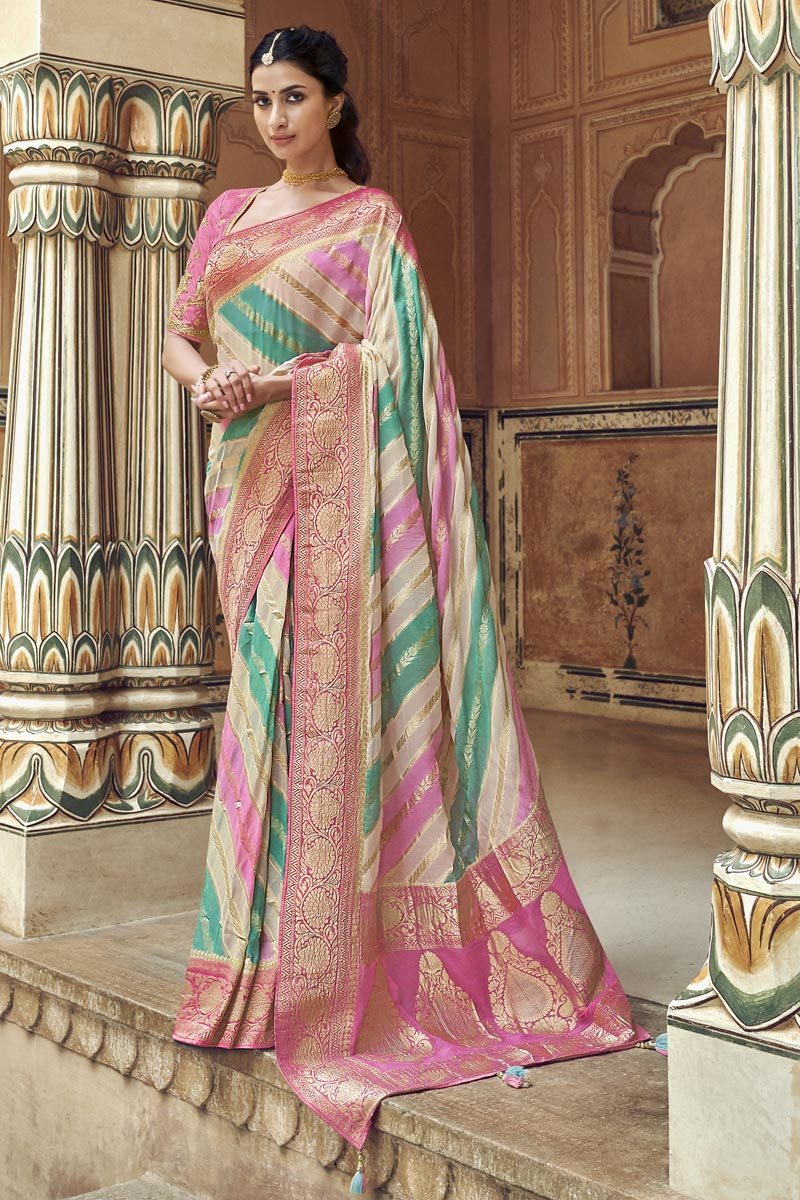 Art Silk Fancy Off White Function Wear Weaving Work Saree With Embroidered Blouse