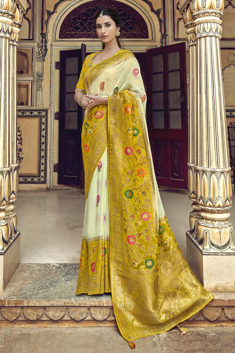 Trendy Function Wear Art Silk Off White Weaving Work Saree With Embroidered Blouse