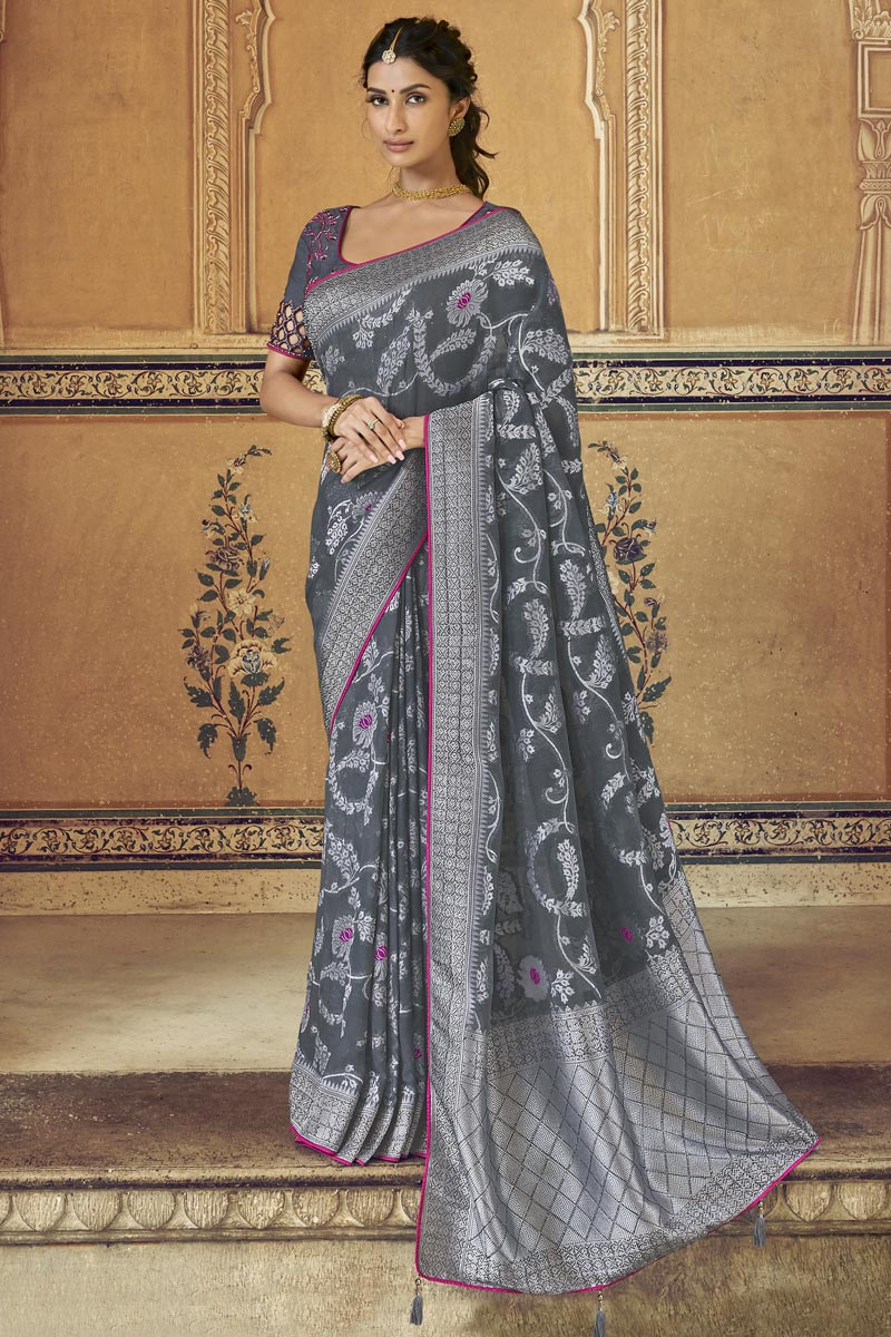 Art Silk Function Wear Fancy Grey Weaving Work Saree With Embroidered Blouse