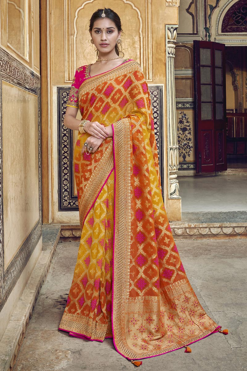 Trendy Art Silk Function Wear Orange Weaving Work Saree With Embroidered Blouse