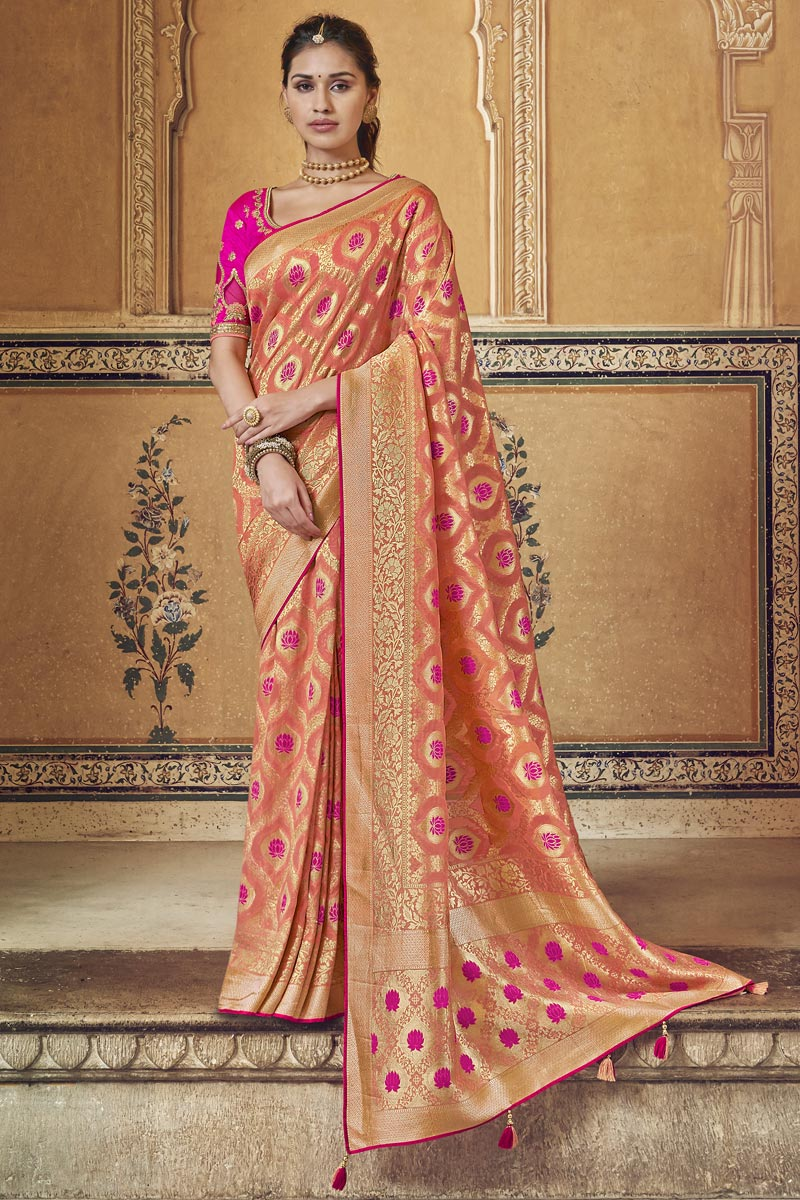 Function Wear Fancy Peach Weaving Work Saree With Embroidered Blouse In Art Silk