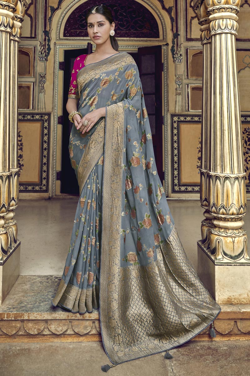 Grey Trendy Art Silk Function Wear Weaving Work Saree With Embroidered Blouse