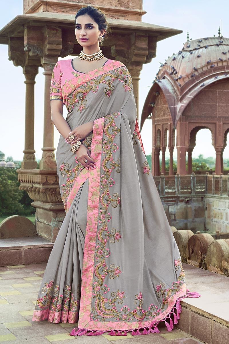 Grey Art Silk Function Wear Saree With Fancy Blouse