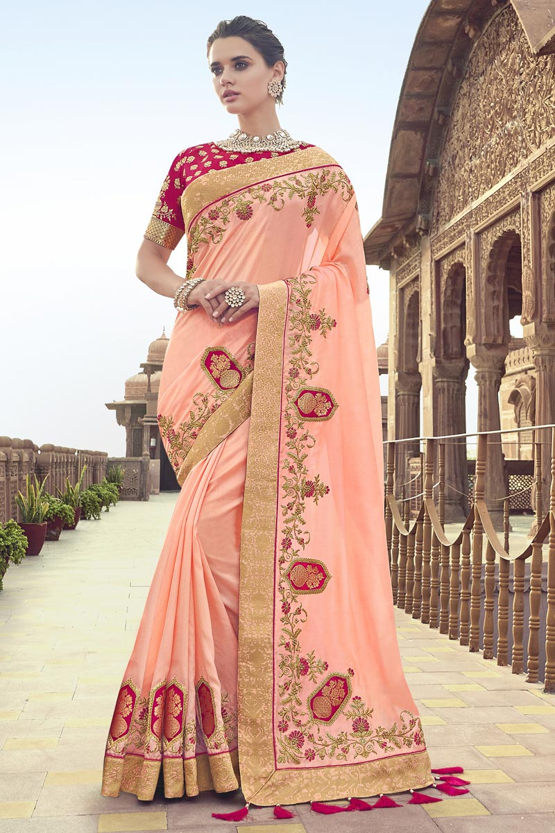 Function Wear Art Silk Peach Saree With Fancy Blouse