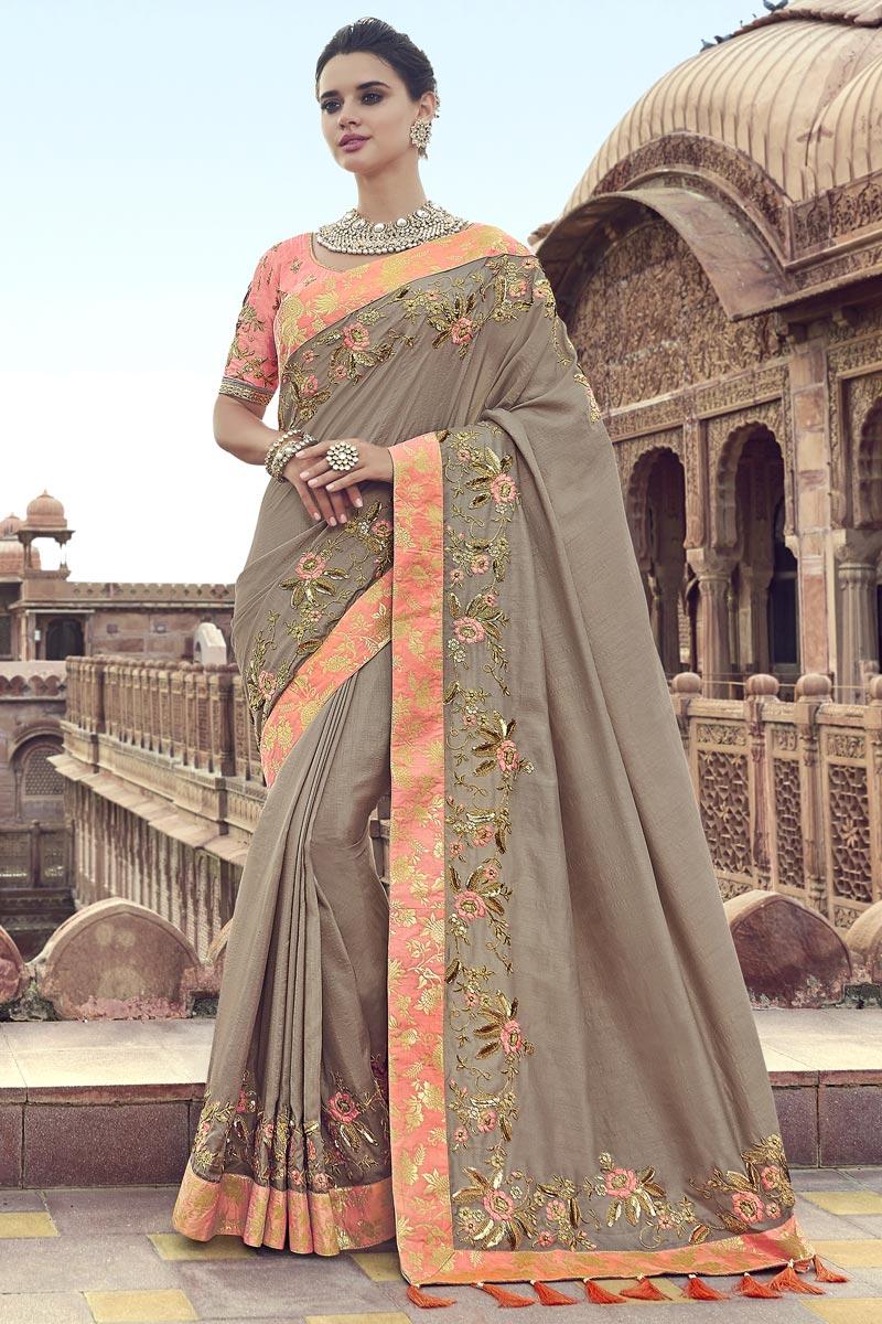 Art Silk Function Wear Dark Beige Saree With Fancy Blouse