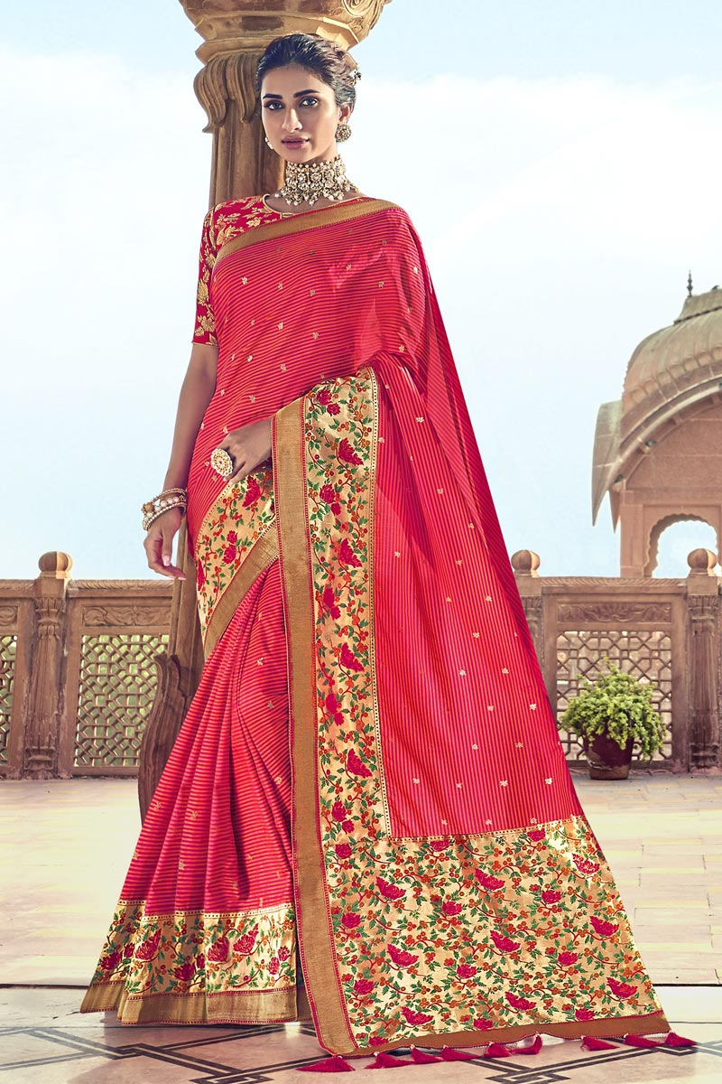 Function Wear Art Silk Red Saree With Fancy Blouse