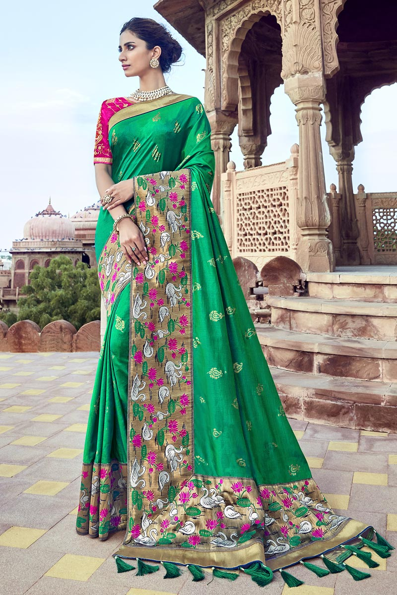 Art Silk Function Wear Green Saree With Fancy Blouse