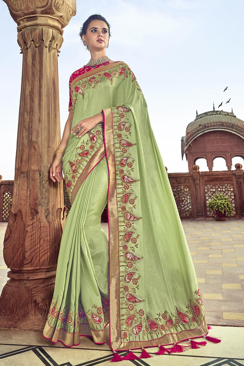 Function Wear Art Silk Sea Green Color Saree With Fancy Blouse