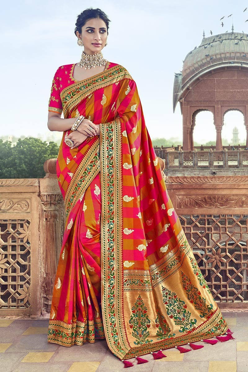 Function Wear Red Art Silk Saree With Fancy Blouse