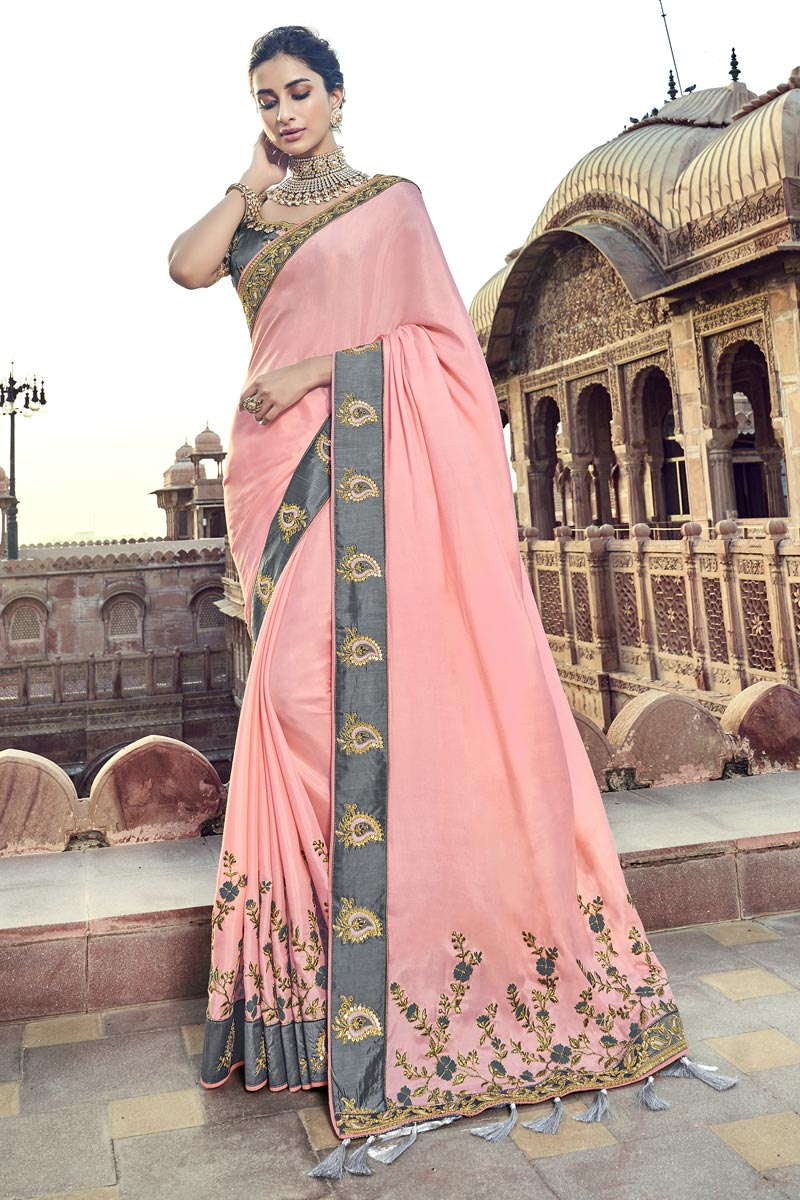 Pink Function Wear Art Silk Saree With Fancy Blouse