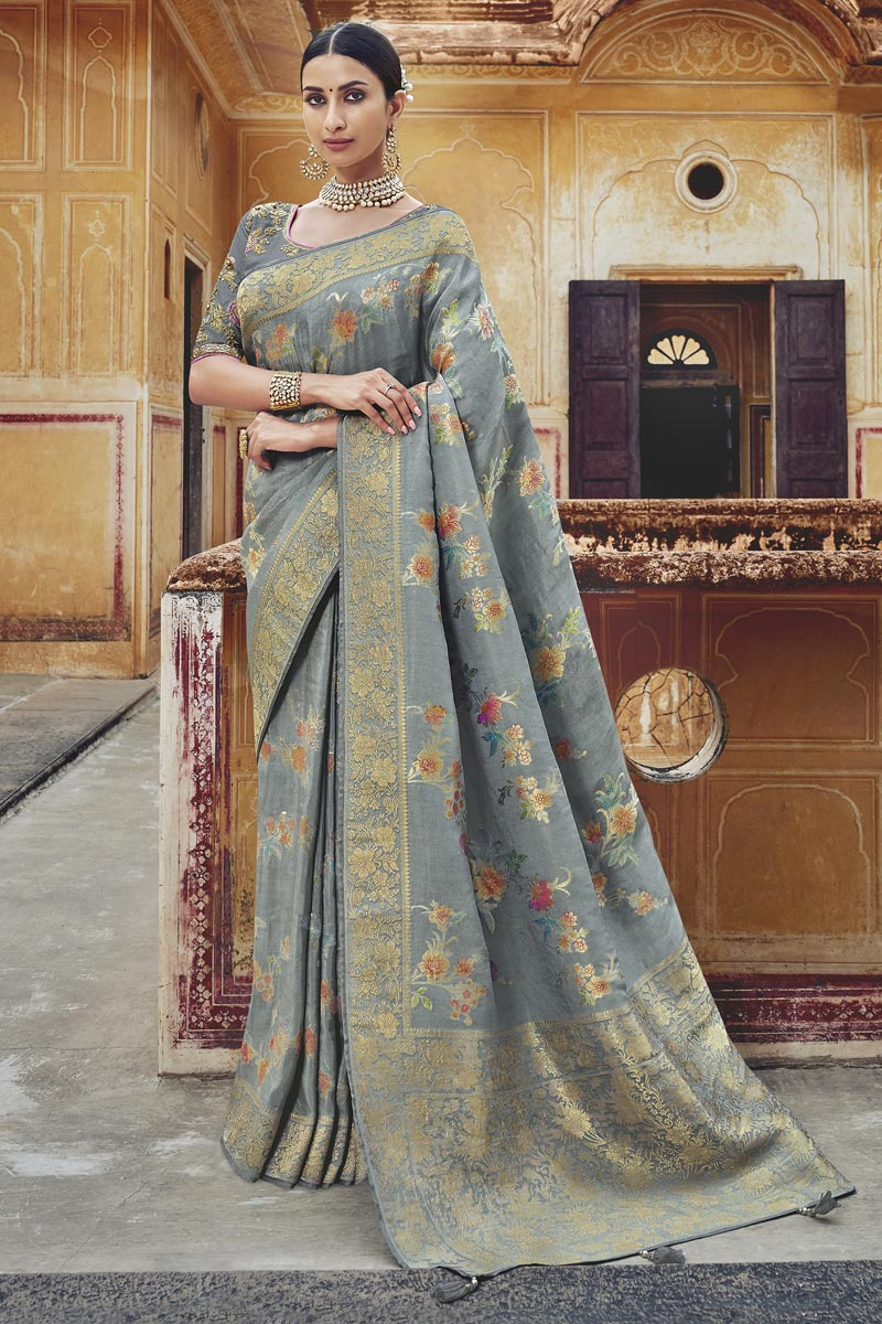 Eid Special Designer Function Wear Silk Fabric Grey Weaving Work Saree With Embroidered Blouse
