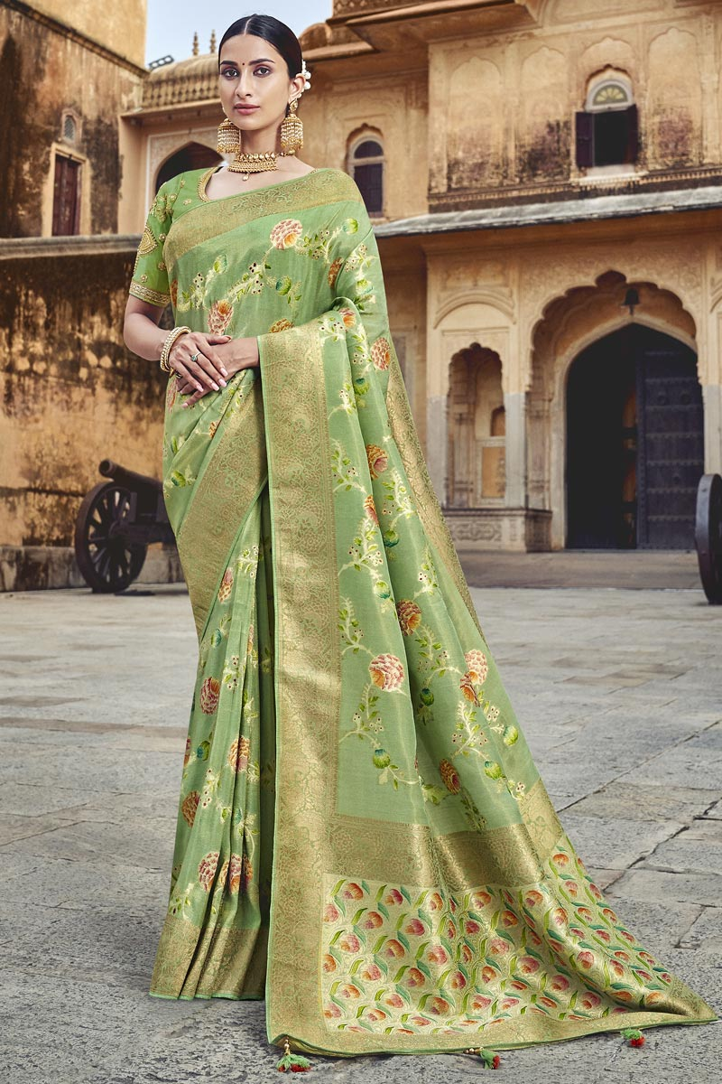Designer Sea Green Silk Fabric Function Wear Weaving Work Saree With Embroidered Blouse