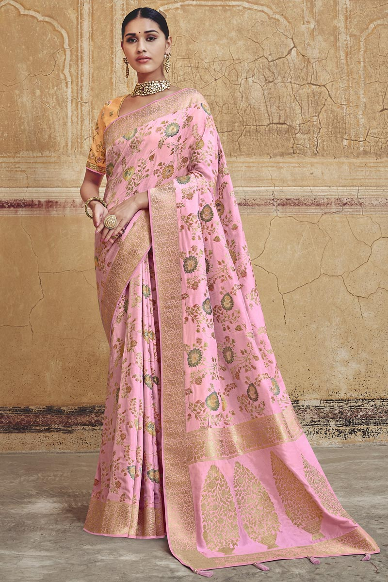 Designer Silk Fabric Function Wear Pink Weaving Work Saree With Embroidered Blouse