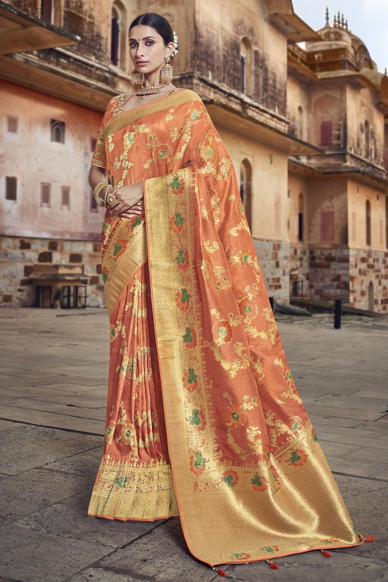 Eid Special Designer Silk Fabric Function Wear Orange Weaving Work Saree With Embroidered Blouse