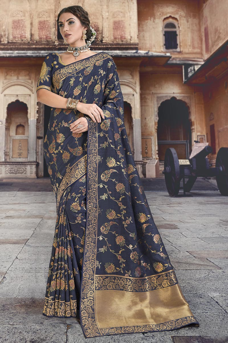 Navy Blue Silk Fabric Designer Function Wear Weaving Work Saree With Embroidered Blouse