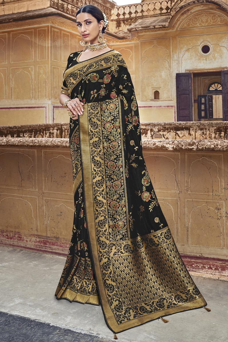 Eid Special Black Silk Fabric Designer Function Wear Weaving Work Saree With Embroidered Blouse