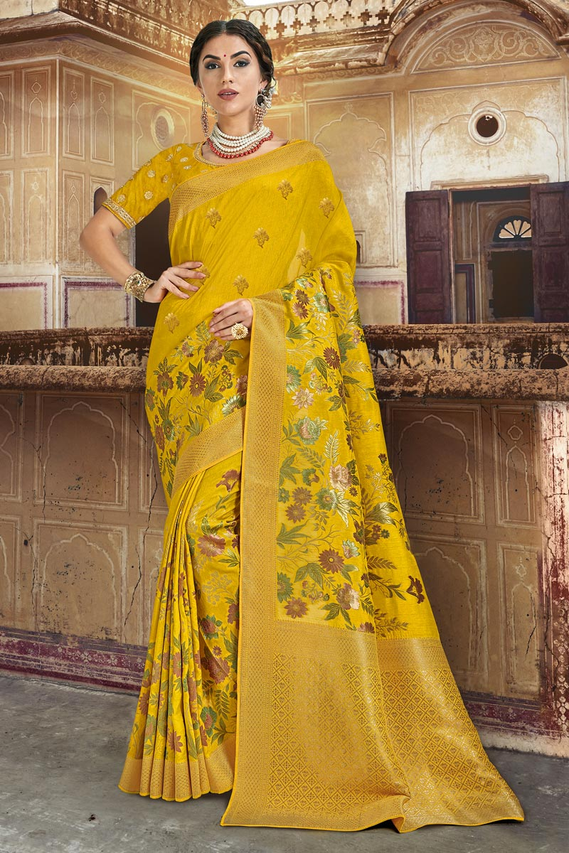 Eid Special Designer Function Wear Yellow Silk Fabric Weaving Work Saree With Embroidered Blouse