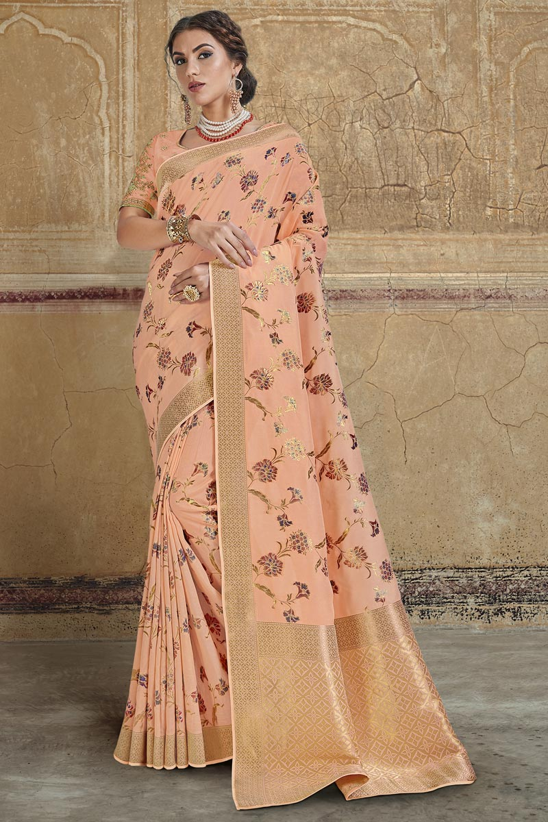 Designer Silk Fabric Peach Function Wear Weaving Work Saree With Embroidered Blouse