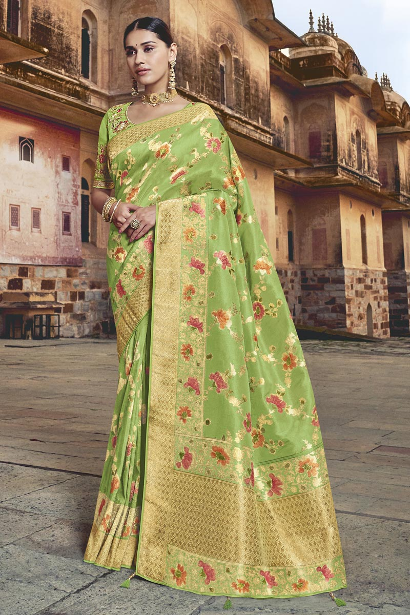 Eid Special Designer Silk Fabric Sea Green Function Wear Weaving Work Saree With Embroidered Blouse