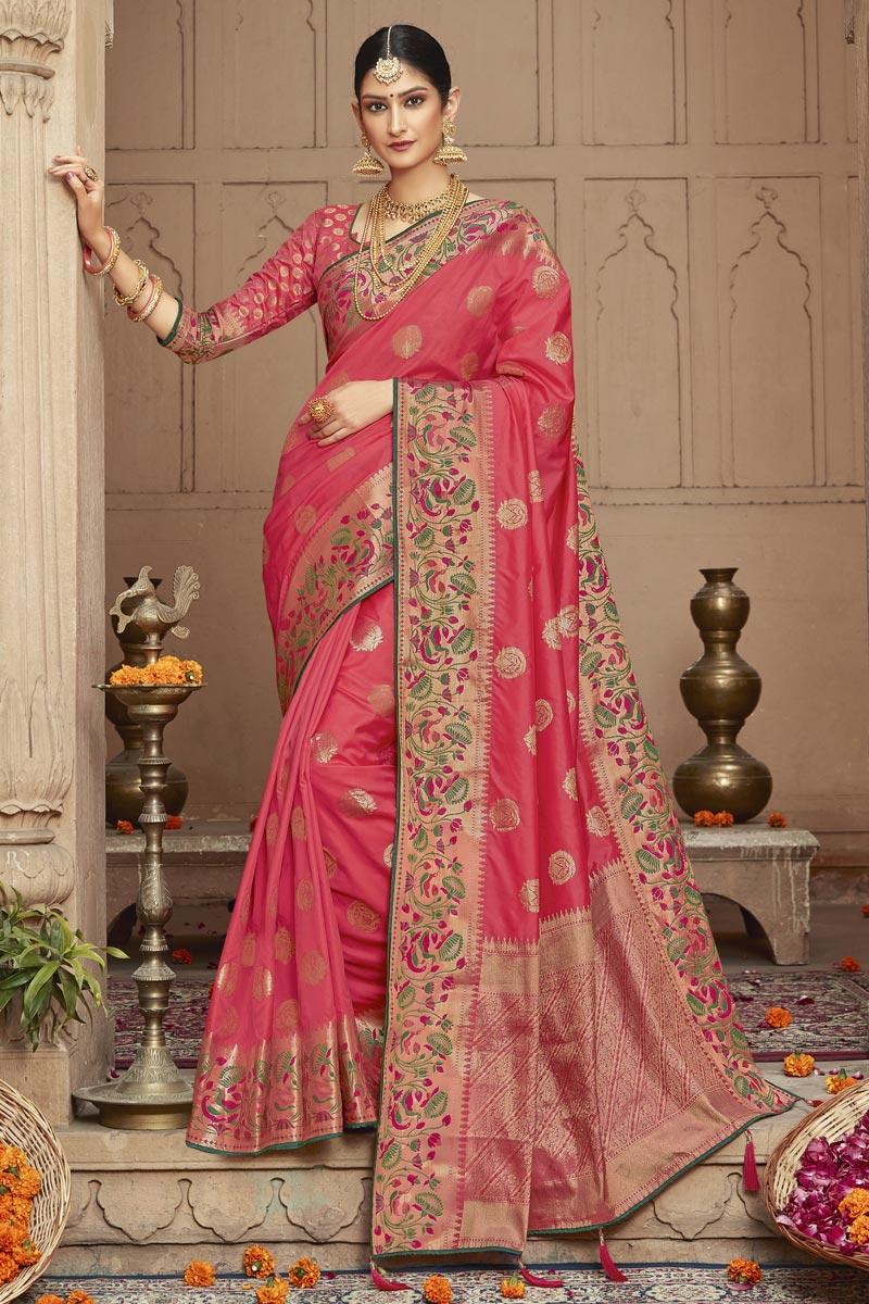Eid Special Sangeet Wear Trendy Art Silk Fabric Weaving Work Saree In Pink