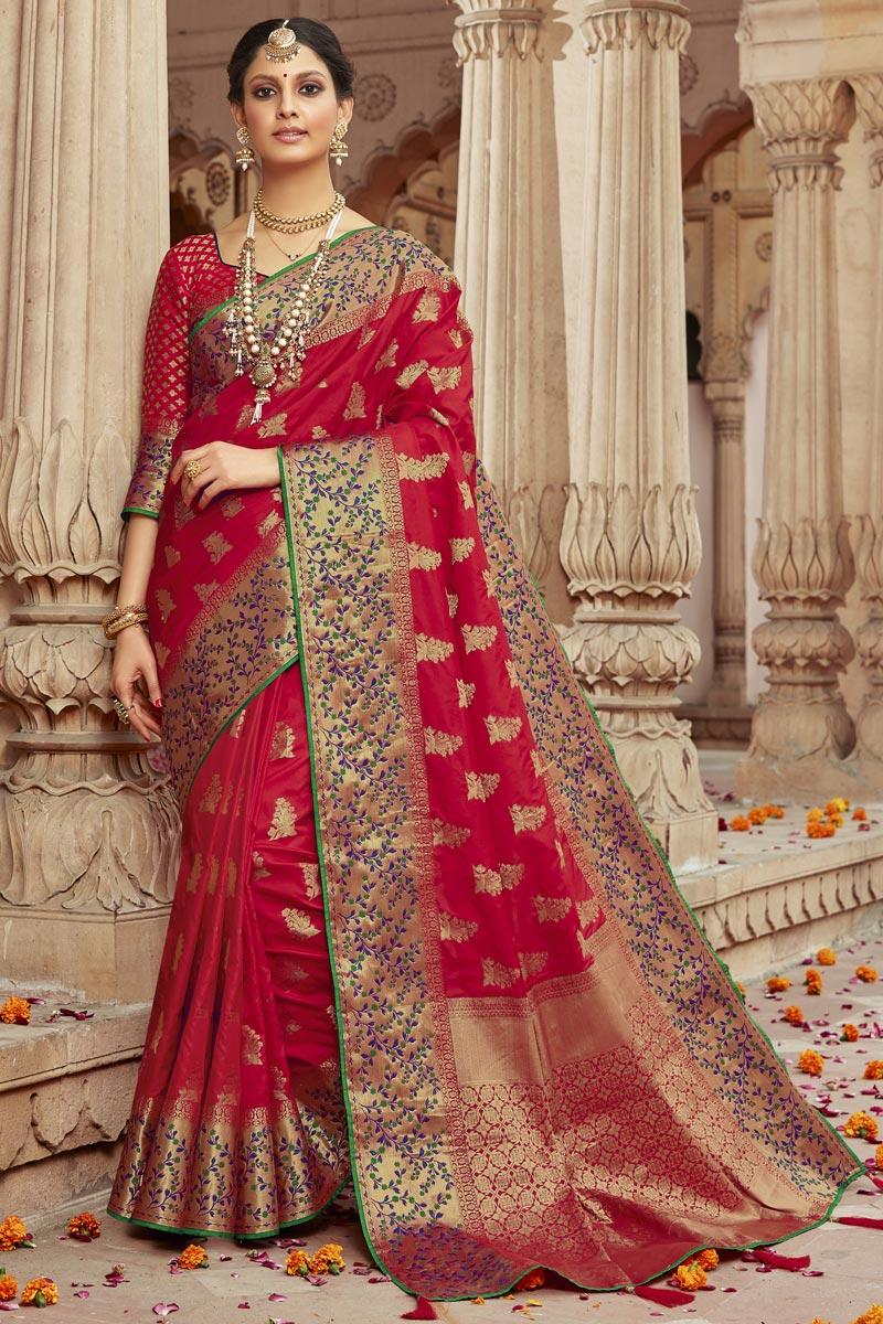 Art Silk Fabric Trendy Sangeet Wear Red Weaving Work Saree