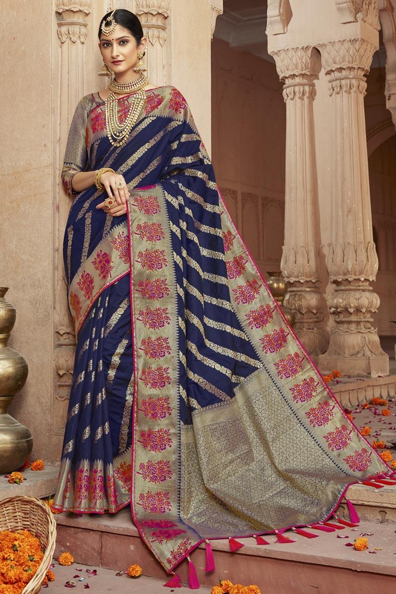 Navy Blue Trendy Art Silk Fabric Sangeet Wear Weaving Work Saree