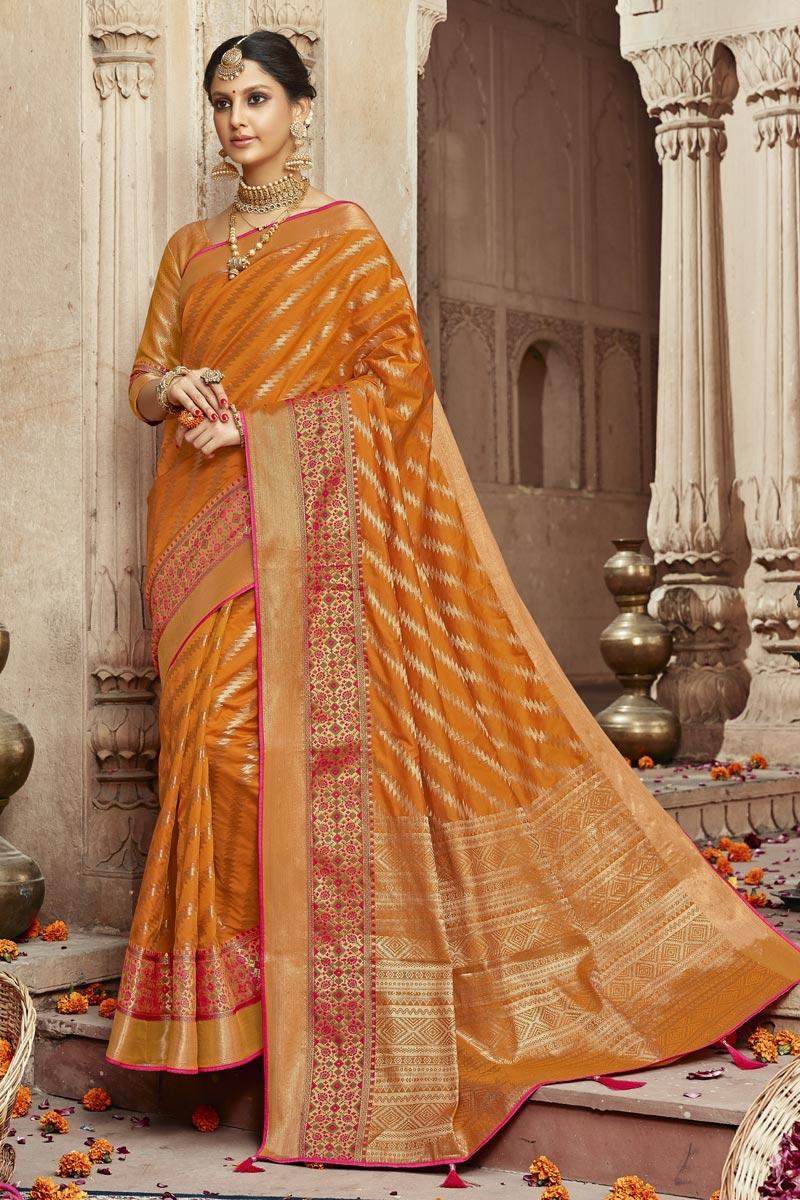 Sangeet Wear Trendy Orange Weaving Work Saree In Art Silk Fabric